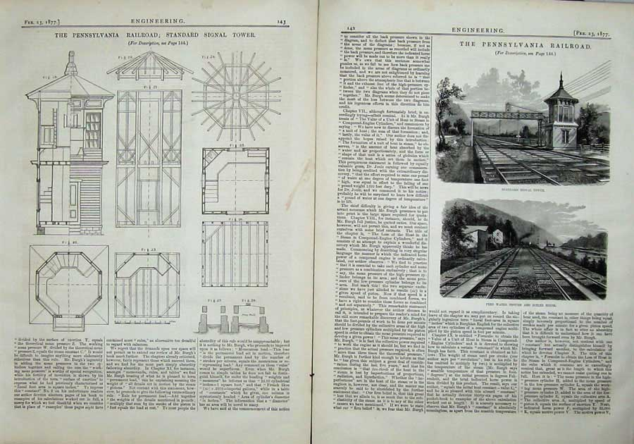 Print 1877 Pennsylvania Railway Signal Tower Boiler Diagrams 142Ad403 Old Original