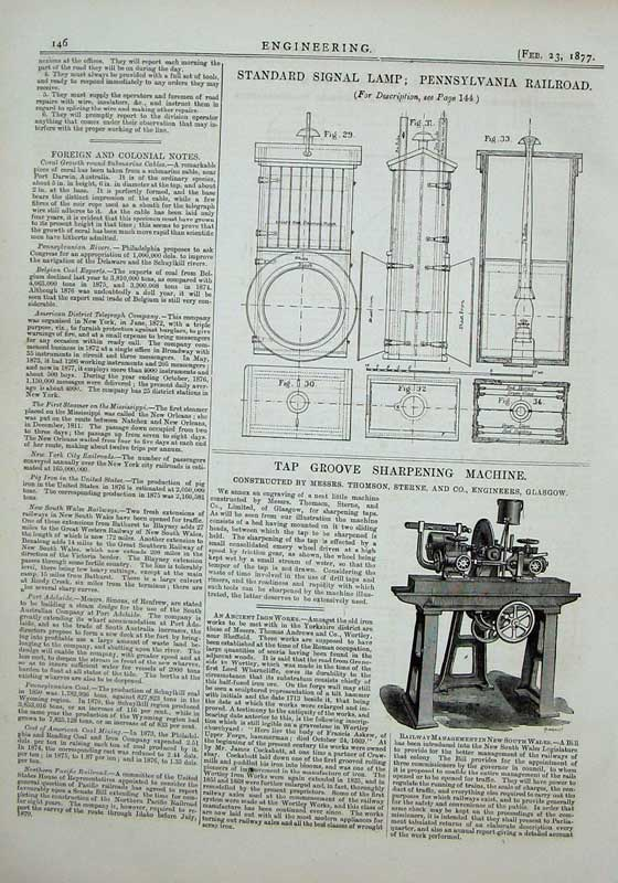 Print 1877 Engineering Signal Lamp Railway Sharpening Machine 146D403 Old Original