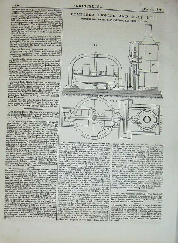 Print 1877 Engineering Combined Engine Clay Mill Jackson 154D403 Old Original