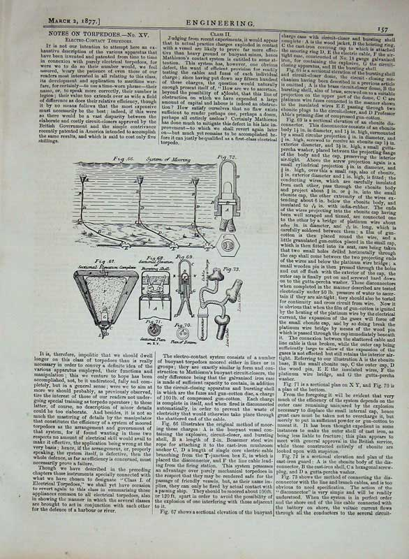 Print 1877 Engineering Diagrams Torpedoes Electirc-Contact 157D403 Old Original