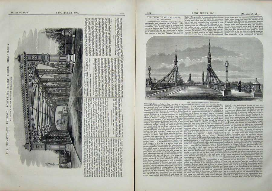 Print 1877 Engineering Bridge Philadelphia Forty First Street 204Ad403 Old Original