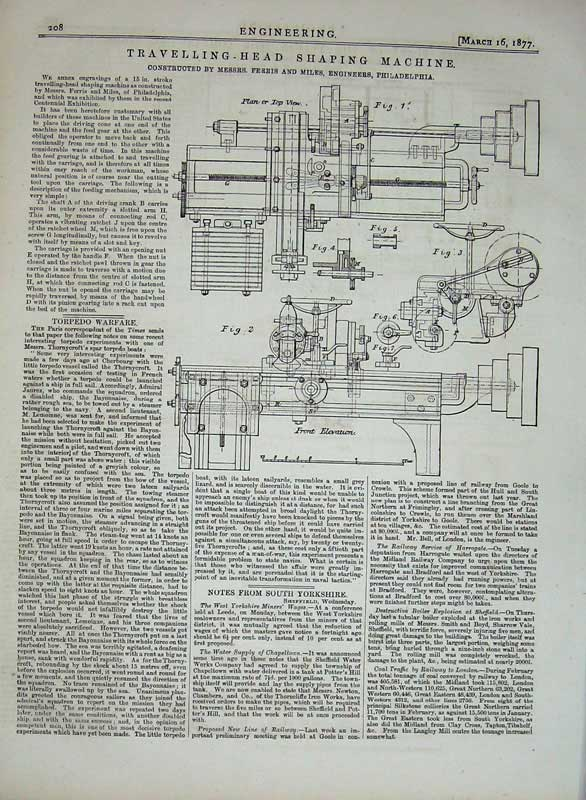 Print 1877 Engineering Travelling Head Shaping Machine 208D403 Old Original