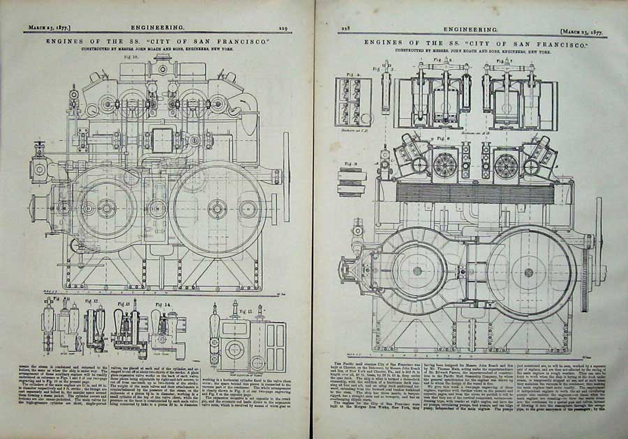 Print 1877 Engines Ss City San Francisco Diagrams Engineering 228Ad403 Old Original