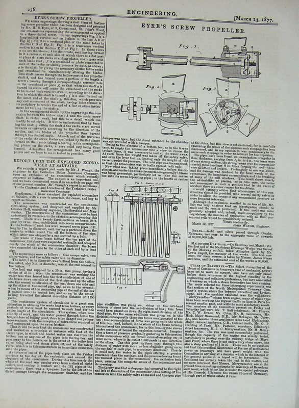 Print 1877 Engineering Eyre'S Screw Propeller Machinery 236D403 Old Original