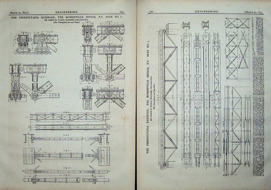 Print 1877 Pennsylvania Railway Morrisville Bridge Diagrams 242Ad403 Old Original