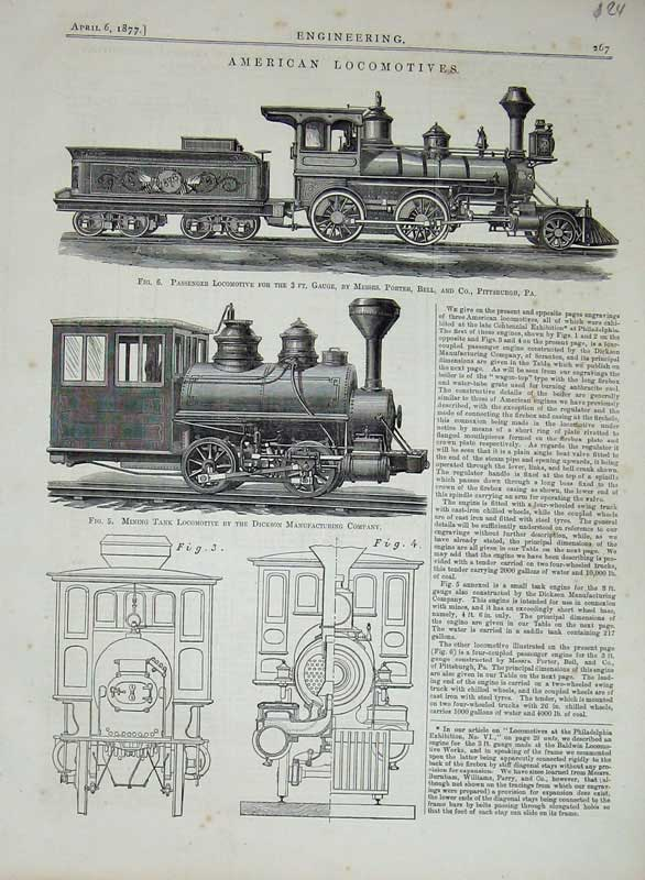 Print 1877 Engineering American Locomotive Train Engines 267D403 Old Original