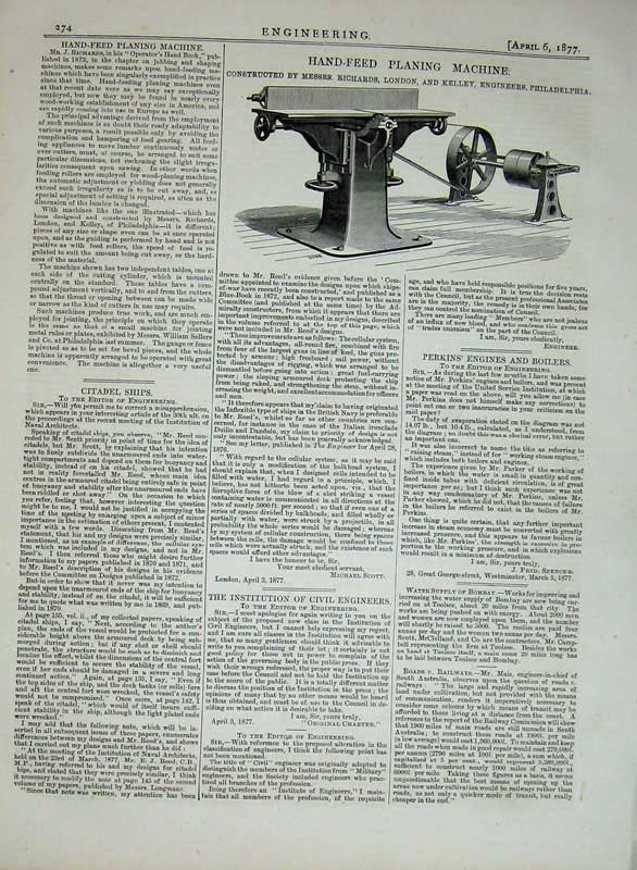 Print 1877 Engineering Hand-Feed Planing Machinery Kelley 274D403 Old Original