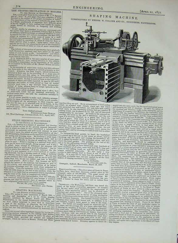 Print 1877 Engineering Shaping Machine Collier Manchester 314D403 Old Original