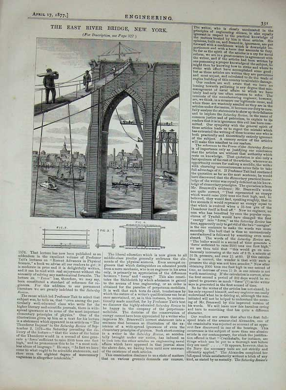 Print 1877 Engineering East River Bridge New York America 331D403 Old Original