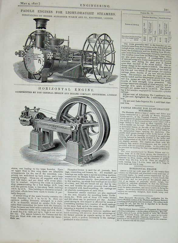 Print 1877 Engineering Paddle Engines Steamers Engine Wilson 341D403 Old Original
