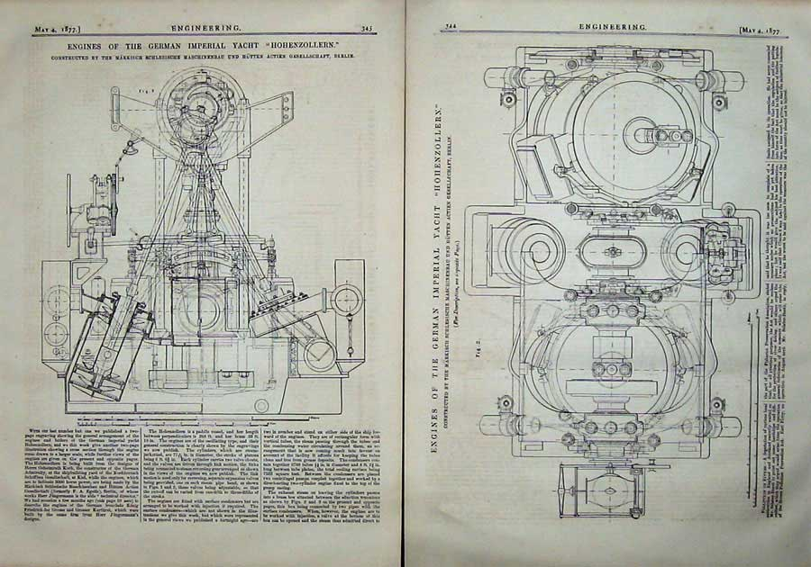 Print 1877 Engineering Engines Imperial Yacht Hohenzollern 344Ad403 Old Original
