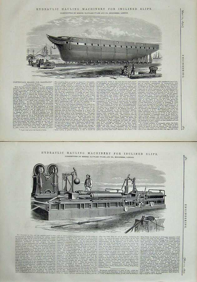 Print 1877 Engineering Hydraulic Hauling Machinery London 362Ad403 Old Original