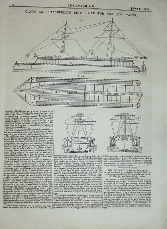 Print 1877 Engineering Clark Stanfield'S Ship Float Diagrams 370D403 Old Original