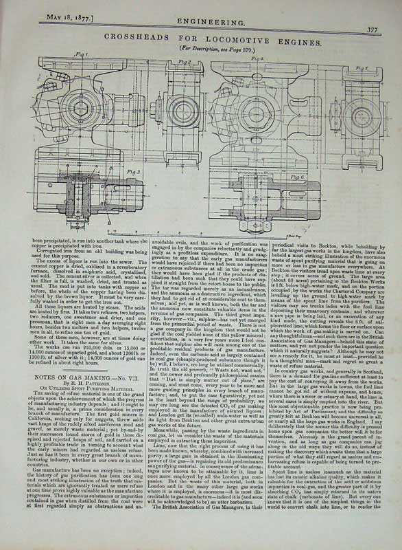 Print 1877 Crossheads Locomotive Train Engines Engineering 377D403 Old Original