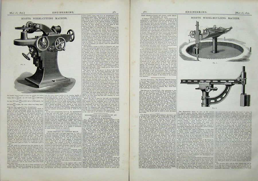 Print 1877 Engineering Scott'S Wheel-Mounting Machine Cutting 380Ad403 Old Original