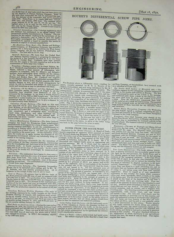 Print 1877 Engineering Bourry'S Differential Screw Pipe Joint 388D403 Old Original
