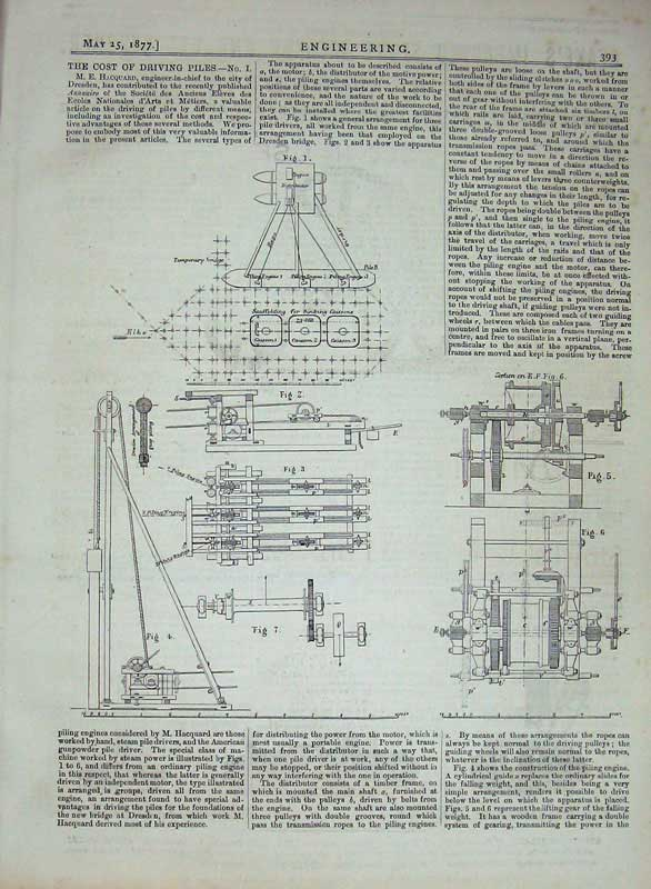 Print 1877 Engineering Machinery Diagrams Scaffolding 393D403 Old Original