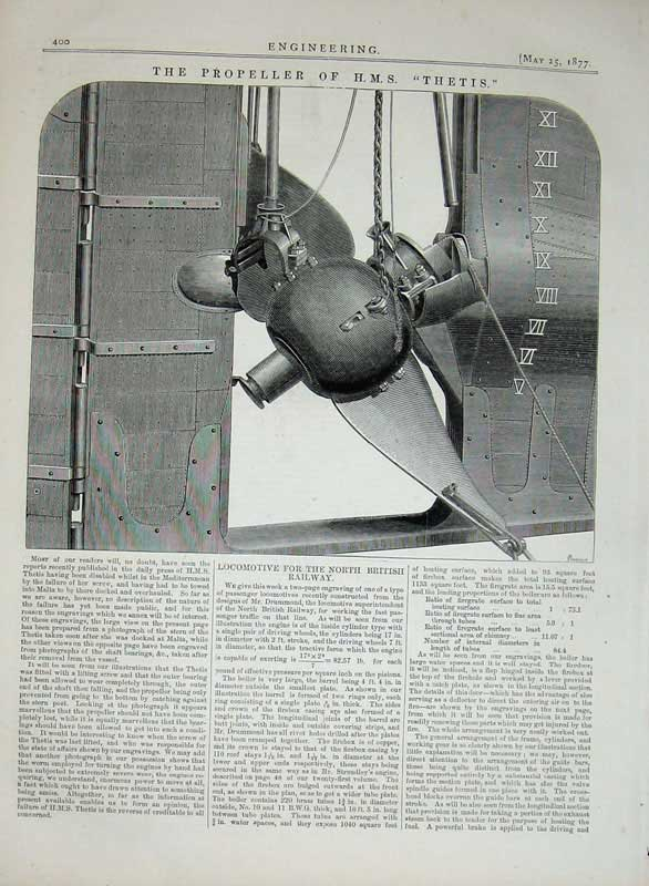 Print 1877 Engineering Propeller H.M.S Ship Thetis Machine 400D403 Old Original