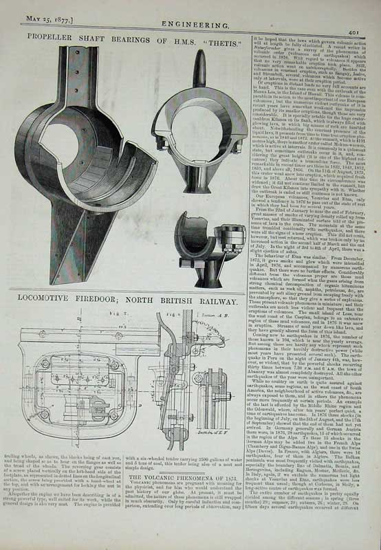 Print 1877 Engineering Propeller Shaft Thetis Locomotive Rail 401D403 Old Original
