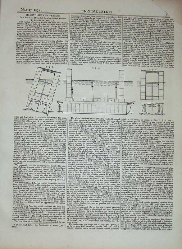 Print 1877 Engineering Machinery Raising Sunken Vessels Ship 411D403 Old Original