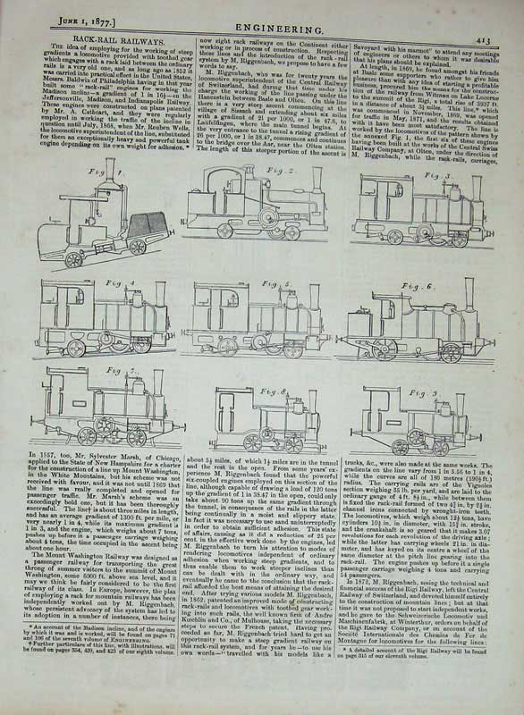 Print 1877 Engineering Back-Rail Railways Train Diagrams 413D403 Old Original