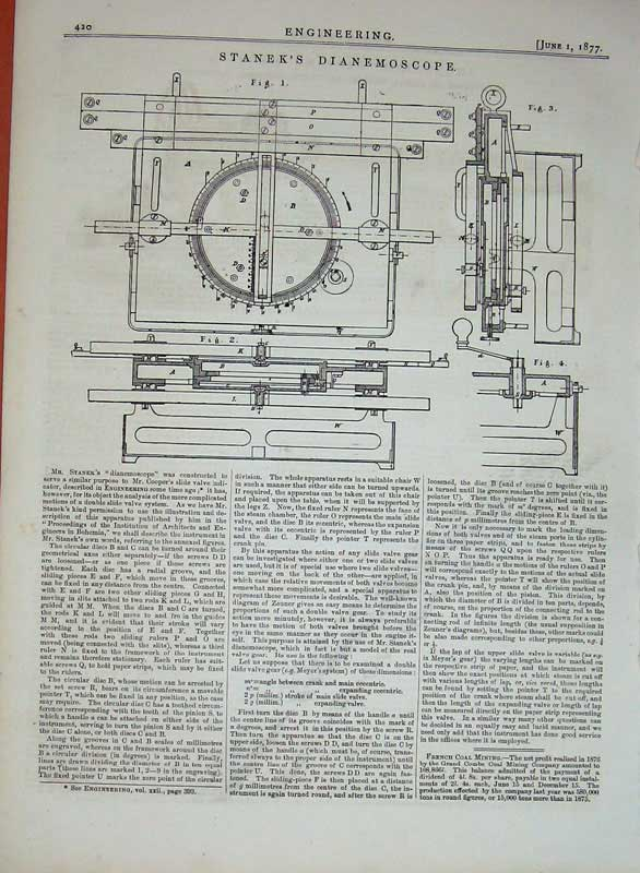 Print 1877 Engineering Stanek'S Dianemoscope Diagrams 420D403 Old Original