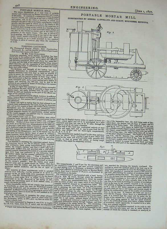 Print 1877 Engineering Portable Mortar Mill Machinery Diagram 428D403 Old Original