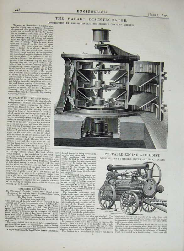 Print 1877 Engineering Vapart Disintegrator Engine Hoist 448D403 Old Original
