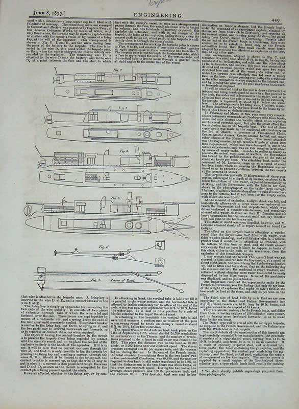 Print 1877 Torpedo Launchers Engineering Diagrams Drawings 449D403 Old Original
