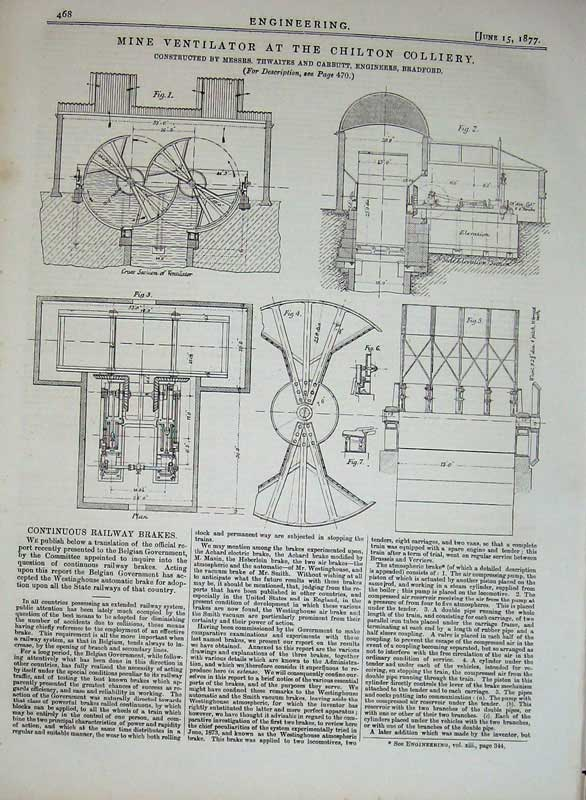 Print 1877 Engineering Mine Ventilator Chilton Colliery 468D403 Old Original