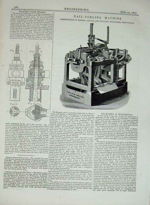 Print 1877 Engineering Nail-Forging Machine Tube Beader 480D403 Old Original