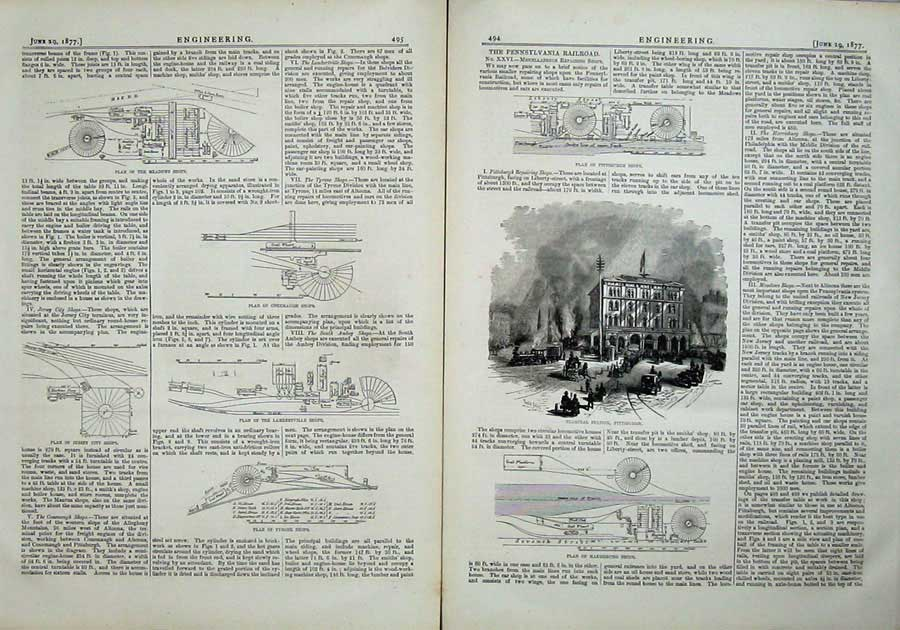 Print 1877 Engineering Pennsylvania Railway Shops Diagrams 494Ad403 Old Original