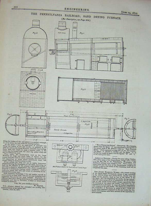 Print 1877 Engineering Pennsylvania Railway Drying Furnace 502D403 Old Original