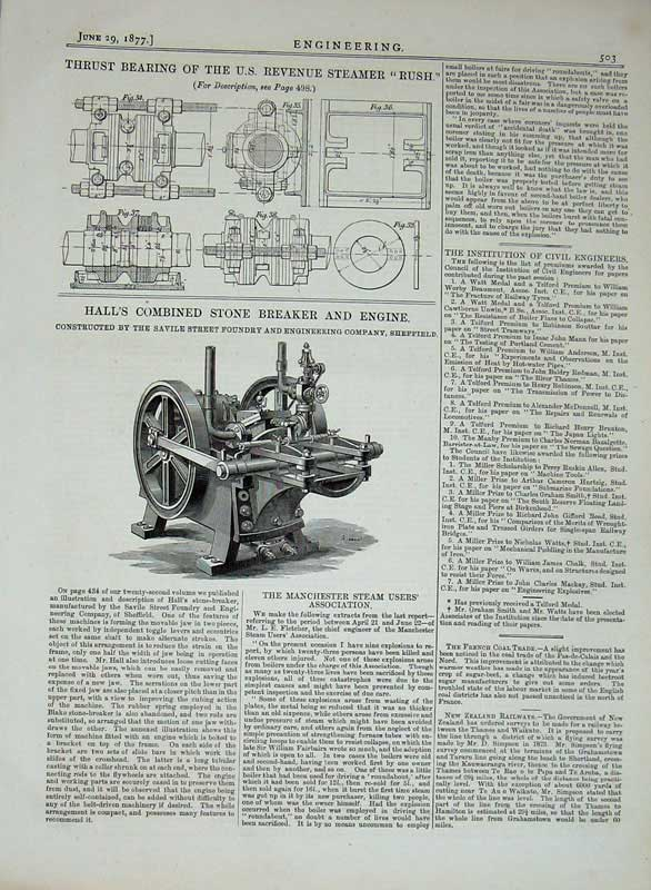 Print 1877 Engineering Stone Breaker Machine Thrust Steamer 503D403 Old Original