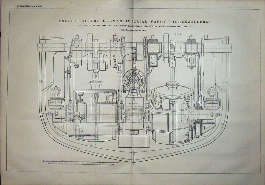 Print 1877 Engines Imperial Yacht Hohenzollern Engineering 807D403 Old Original
