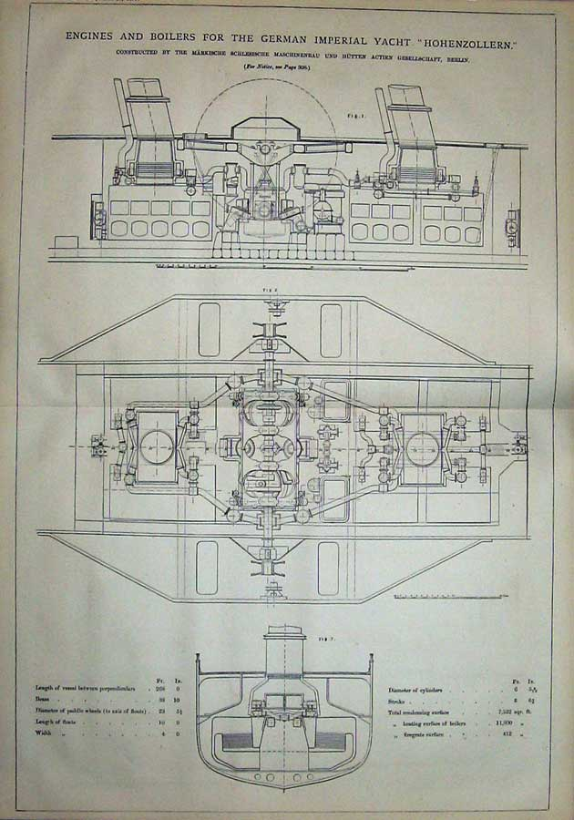 Print 1877 Engines Boilers German Yacht Hohenzollern Diagrams 809D403 Old Original