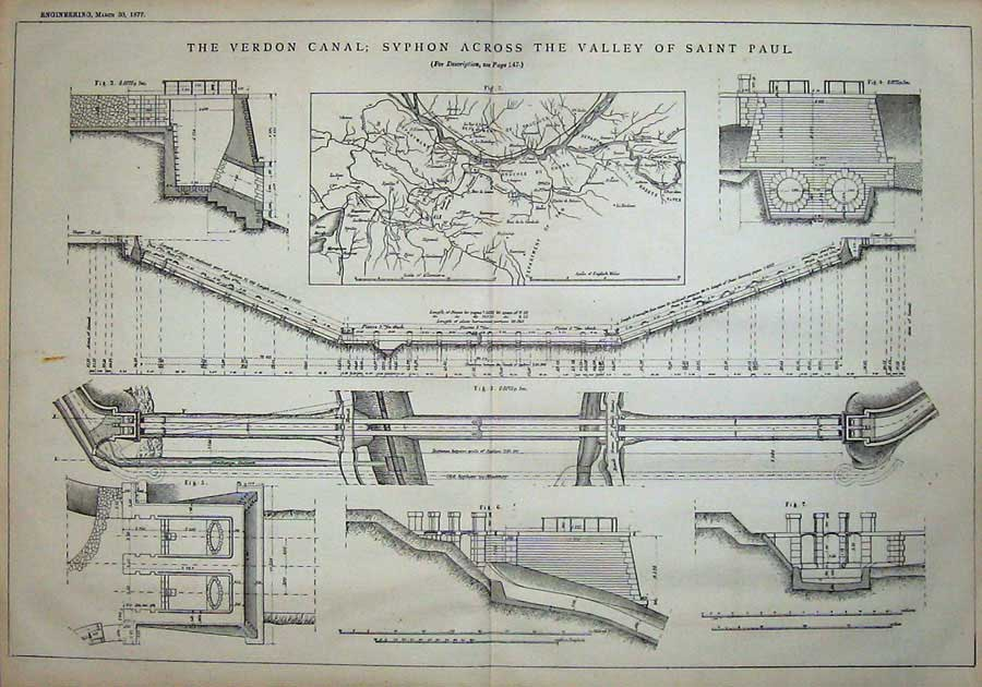 Print 1877 Engineering Verdon Canal Syphon Valley Saint Paul 812D403 Old Original