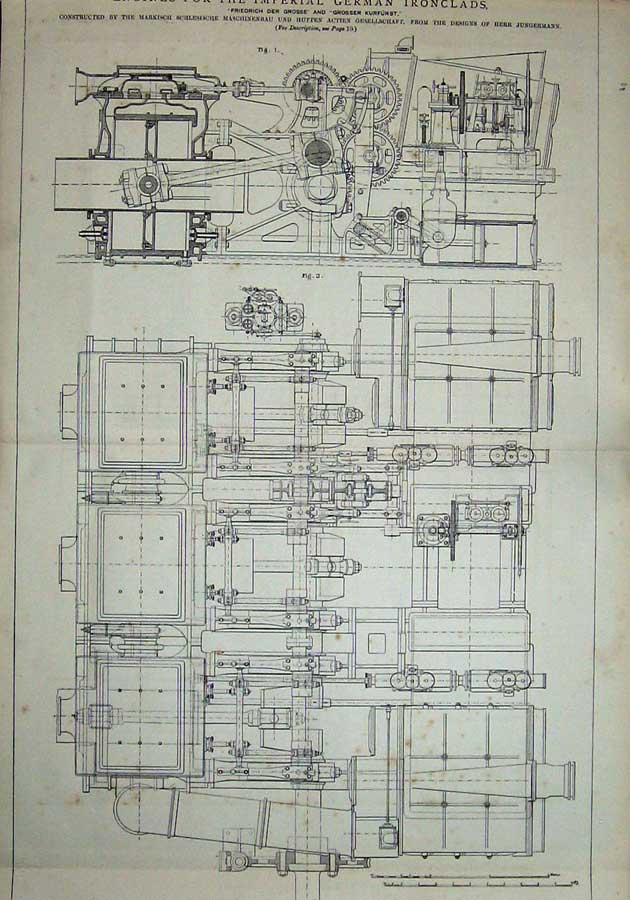 Print 1877 Engines Imperial German Ironclad Ships Engineering 825D403 Old Original