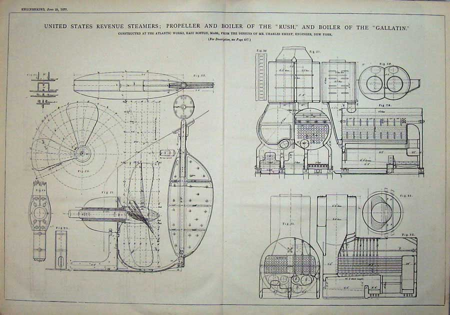 Print 1877 America Steamers Propeller Boiler Ship Engineering 827D403 Old Original