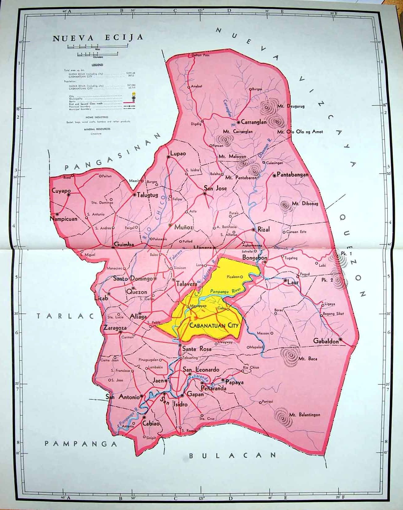 14 print colour map 1959 philippines nueva ecija cabanatuan city click for larger and then click again for extra large publicscrutiny Images