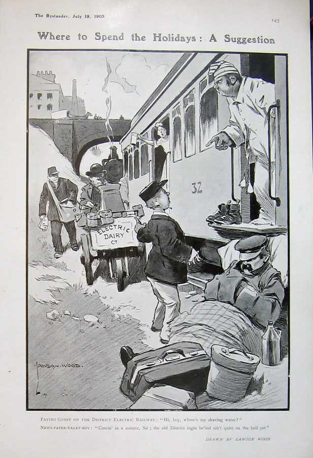 [Print 1905 Holiday Train Electric Railway Newspaper Boy Wood 236D501 Old Original]