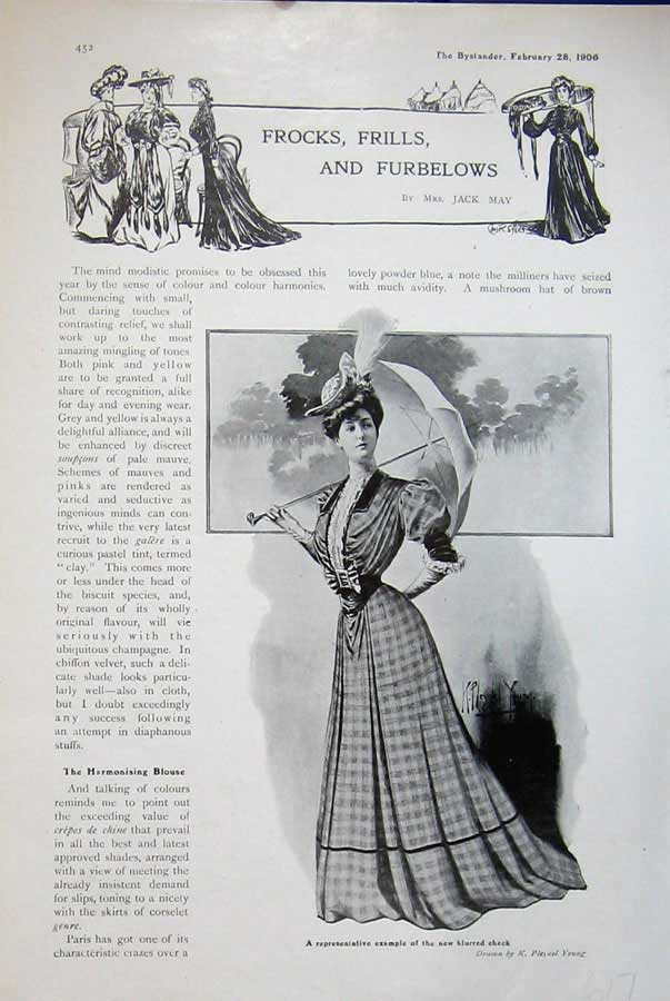 Print 1906 Advert Womens Fashion Dress Umbrella Young 617D502 Old Original