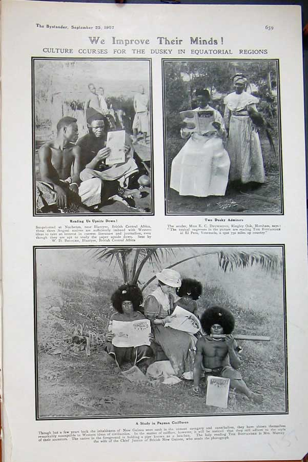 [Print 1907 Nuchenza Africa People Papuan Coiffures New Guinea 1157D503 Old Original]