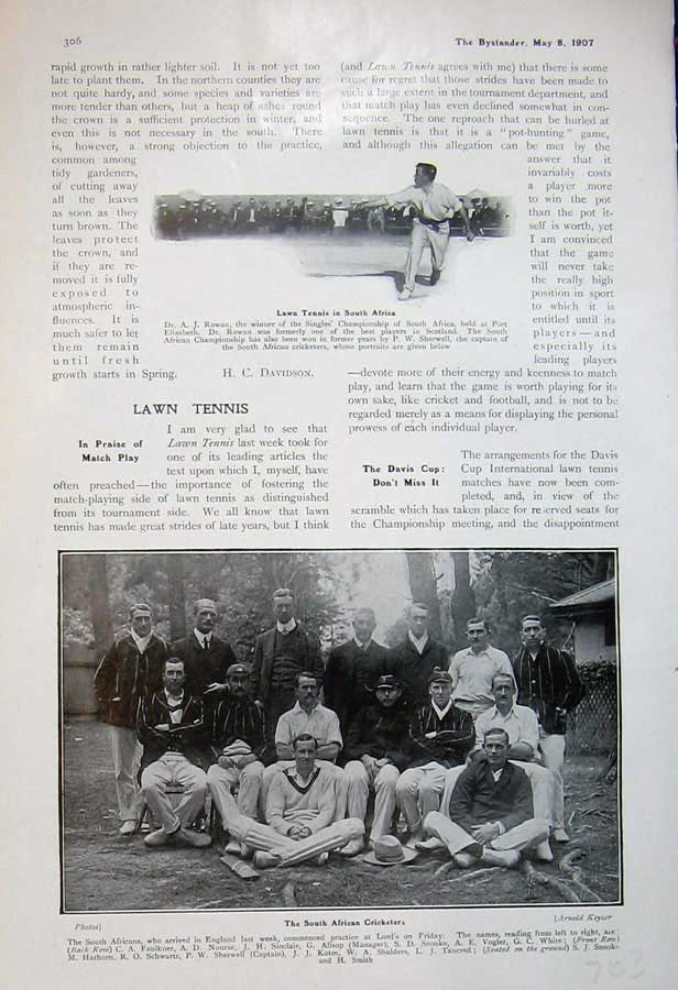 [Print 1907 Lawn Tennis South Africa Cricketers Sport Men 703D503 Old Original]