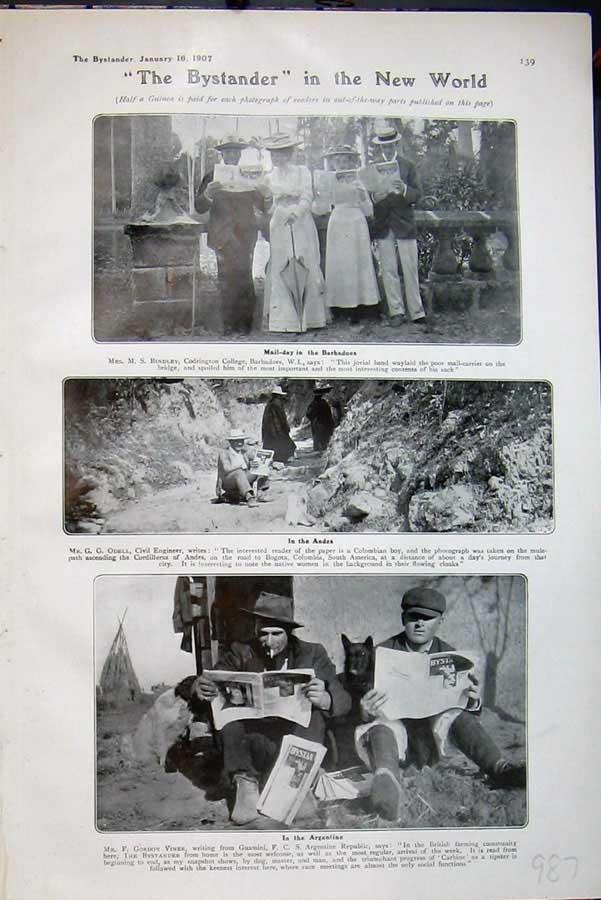 [Print 1907 Mail Barbadoes Andes Argentine People Newspaper 987D503 Old Original]