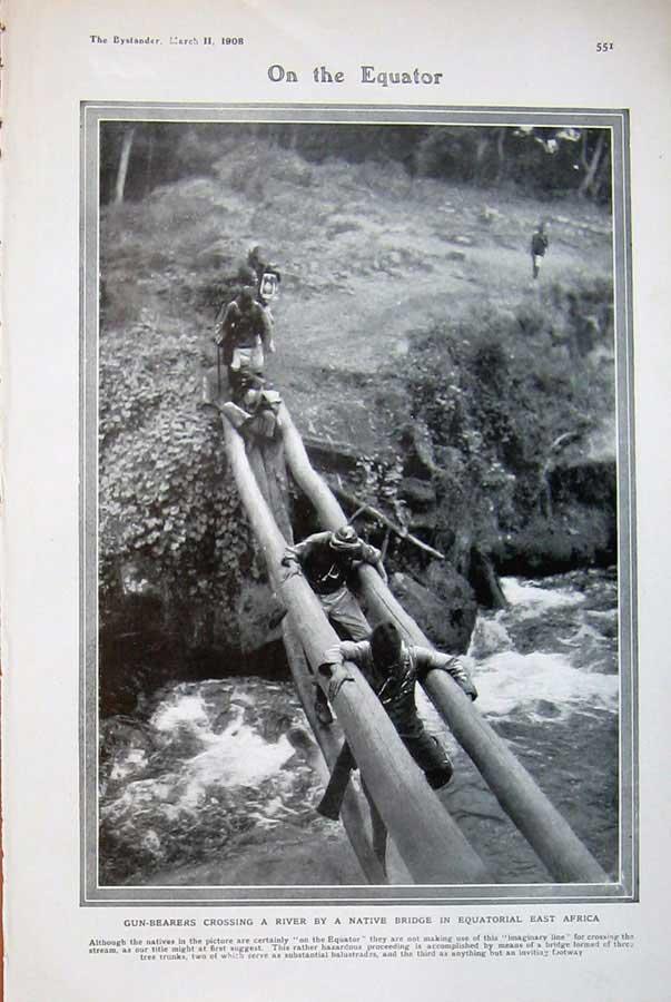 [Print 1908 Gun-Bearers River Native Bridge Equatorial Africa 541D504 Old Original]