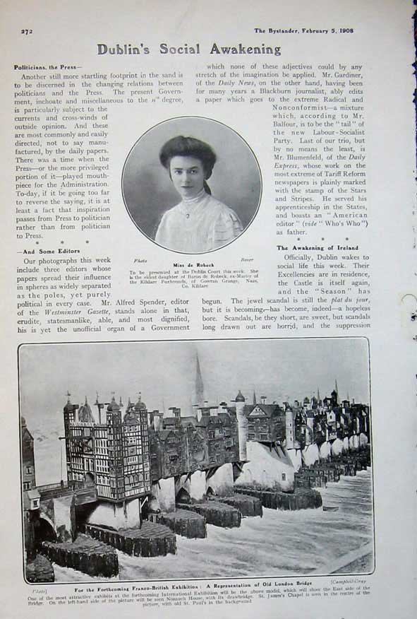 [Print 1908 Miss Robeck London Bridge Franco-British Newspaper 637Rd504 Old Original]