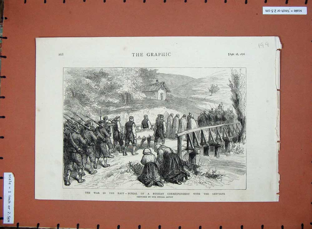 [Print 1876 War East Burial Russian Correspondent Servians 199D508 Old Original]