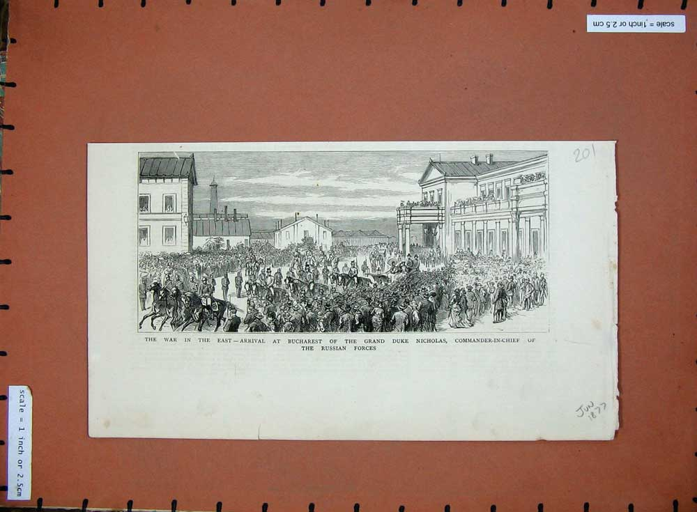 [Print War East 1877 Bucharest Grand Duke Nicholas Russian 201D508 Old Original]
