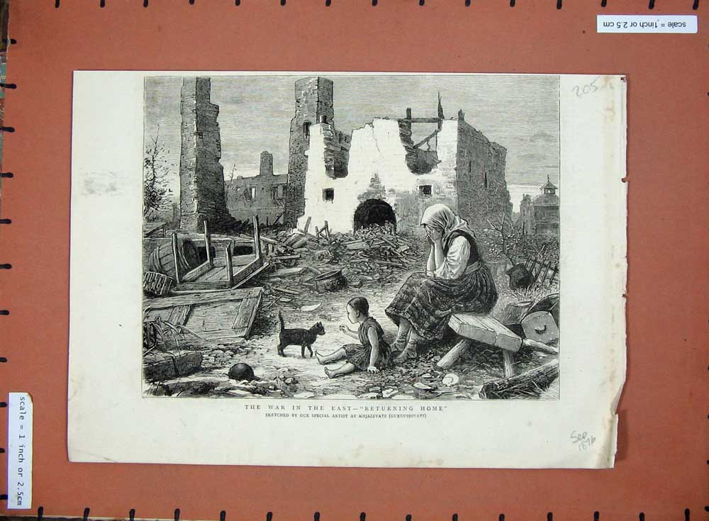[Print 1876 War East Knjazevatz Gurgussovatz Buildings Ruins 205D508 Old Original]